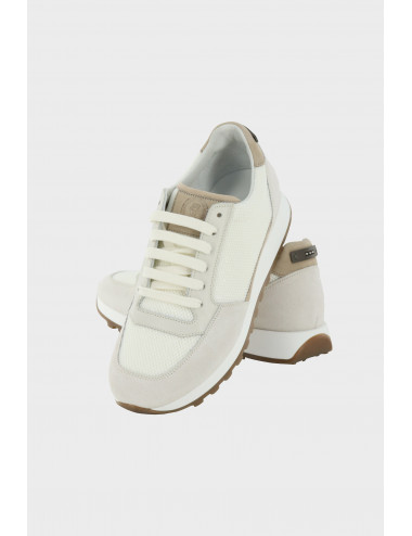 LEATHER AND LUREX SNEAKERS