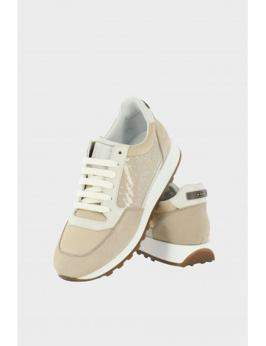 LEATHER AND SILK SNEAKERS